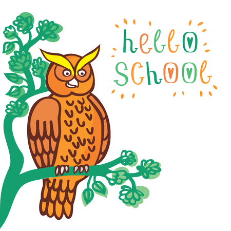 Lovely vector illustration of an owl sitting on a tree and greeting children welcome back to school.