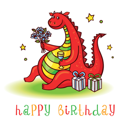 champagne celebration: Playful card with funny dragon at birthday party. Happy birthday invitation postcard with cute dinosaur. Vector animal clip art.