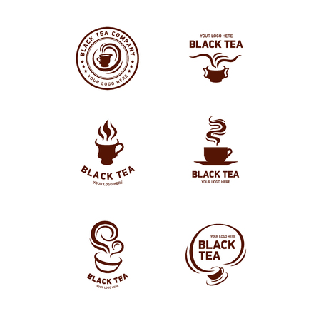 Vector set of tea logos, badges, shop labels and design elements for a packaging or corporate identity.