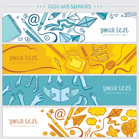 web site design template: Set of hand drawn banners for contact information. Illustration