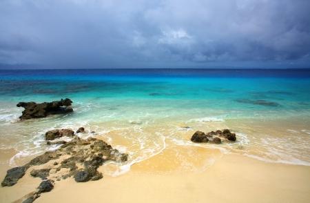 White sand beach on remote tropical island in Sumatra