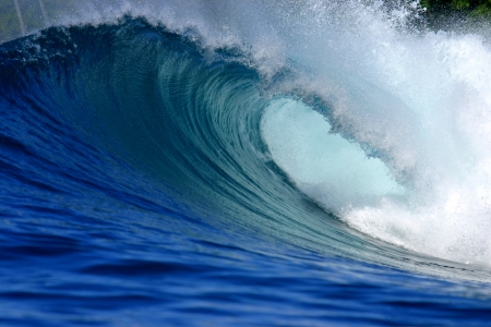 breaking wave: Blue tropical ocean surfing wave