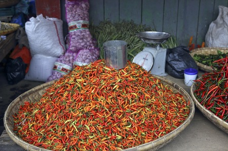 sulawesi: Fresh red chili peppers for sale at Tomohon market in Sulawesi