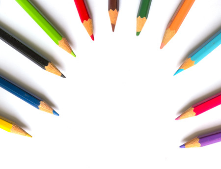 color pencil: Color pencil on white background