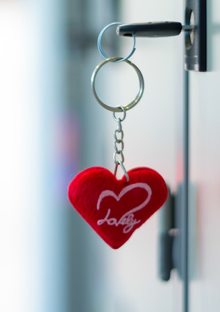 Key chain in form of  red heart Stock Photo