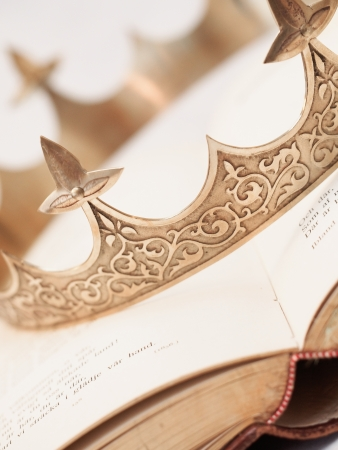 king: Book and Crown Stock Photo