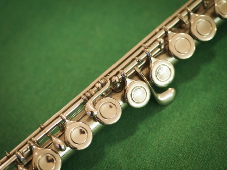 flute key: Western Concert Flute Detail Stock Photo