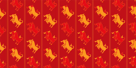 Chinese New Year seamless pattern - Year of the Ox 2021 vector repeat design. Ilustrace