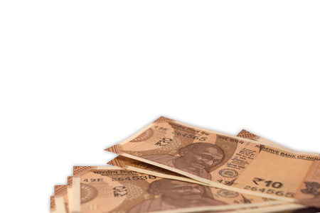 New Indian 10 Rupee currency notes on isolated background. Stok Fotoğraf