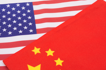 American and china flag on isolated background. Stock Photo