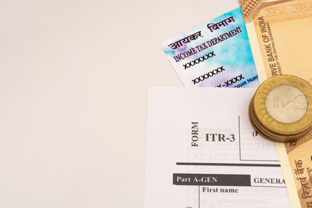 New Indian ITR-3 Income tax Form with indian currency and PAN or Permanent Account Number on isolated background Banco de Imagens