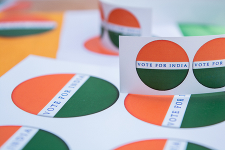 Concept of Indian election, stickers showing vote for better India