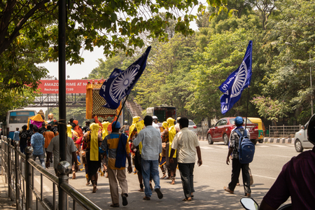 Bangalore, Karnataka India-June 04 2019 : Procession of Samata Sainik Dal Moving near Freedom Park Bengaluru, India.