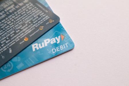 Maski, India - June 18, 2019 : RUPAY debit cards on Isolated background