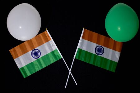 Colorful balloons with India flags on a black background 写真素材