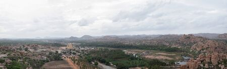 Panoramic Aerial View of Virupaksha or Pampapati temple and Whole from the top of the Matanga Hill Hampi, Karnataka,India.