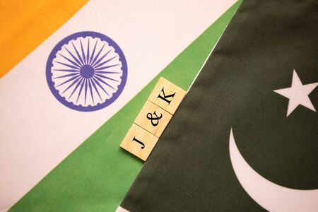 India Pakistan flags with J and k written in scrabble letters on the flag.