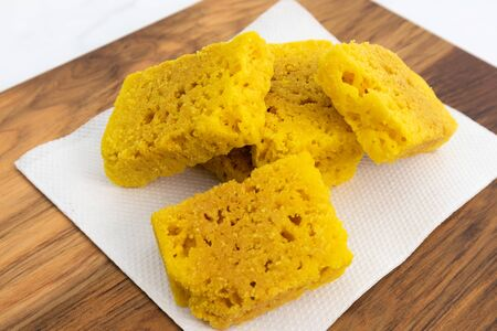 Closeup of a Mysore pak or Mysuru paaka, is an Indian sweet prepared with ghee Famous in Southern India