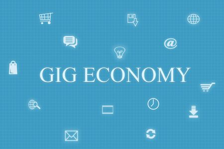 Concept of Gig economy and technology on blue background