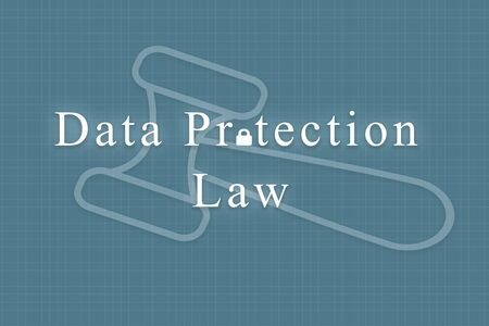 Concept of data protection law with gavel hammer as background Фото со стока