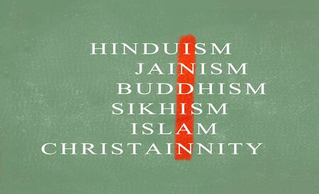 Concept of Unity in diversity of India showing with different religions on green chalkboard.