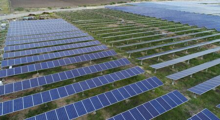 Aerial View of solar farm or solar power plant near Raichur, India.