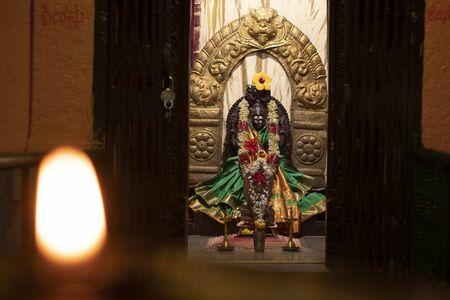 Goddess Durga devi Sculpture inside the temple Stock Photo