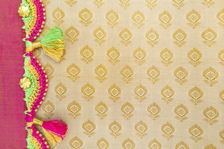 Maski, India - October ,6 2019 - Colorful Crochet, Tassel Fashion Designing works on cloth