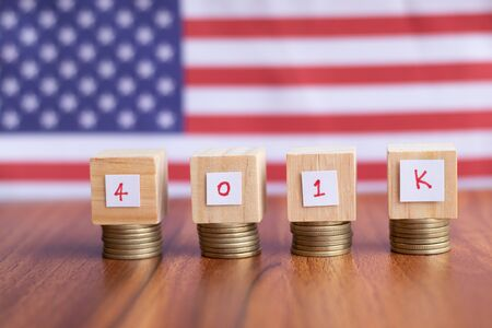 Concept of 401k retirement plan savings showing with US or american flag as background