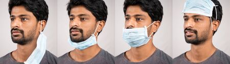 Collage of young man in improper way of using medical face masks - Awareness concept to ware mask, to protect from coronavirus or covid-19 pandemic Stock Photo