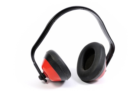 hearing protection: Hearing protection earmuffs on white background