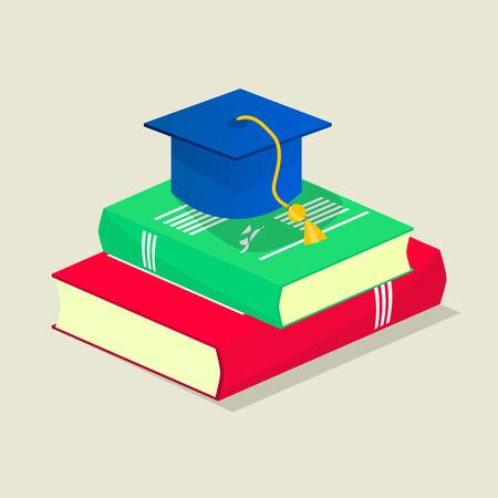 Isometric student  illustration: books and graduation cap