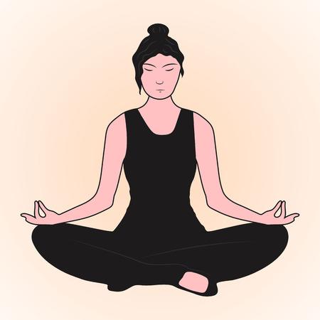 meditating: Vector illustration concept of meditation. Meditating woman