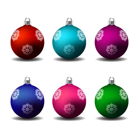 Colorful christmas balls with snowflake ornament. Set of isolated realistic decorations. Vector illustration.