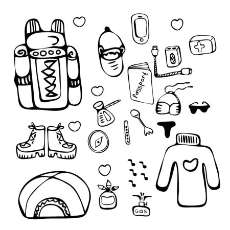 Vector set that depicts things for hiking. Passport, travel backpack, first-aid kit, sweater, phone, shoes, boots, hiking boots, tent, bowler hat, compass. For coloring books, magazine, sticker packs. Illustration