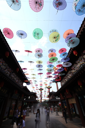 Paper umbrella decoration in an amusement part
