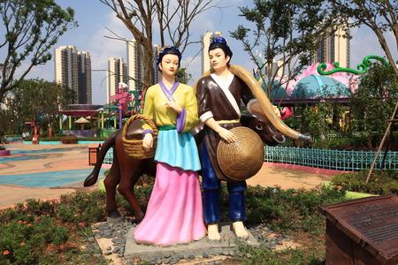 WEAVER: Outdoor chinese sculpture - Cowherd and the weaver (Niulang Zhinv) Editorial