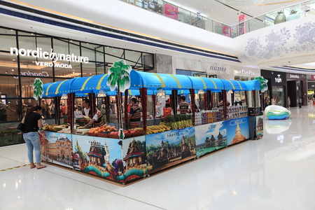 southeast asia: Southeast Asia  Fruit stand at mall Editorial