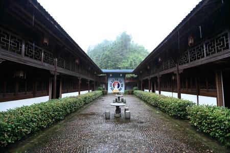 lintel: Taoist wooden building antique architectural Tianlong Academy
