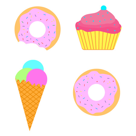 Ice-cream donut cupcake set  colored pink