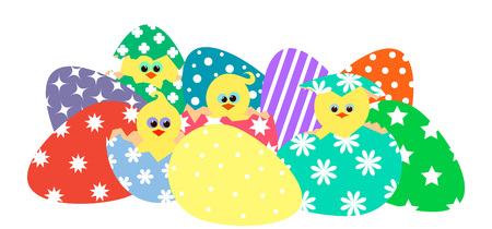 vector illustration of colorful eggs and chickens