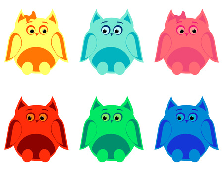 he is beautiful: vector set of six colorful owls