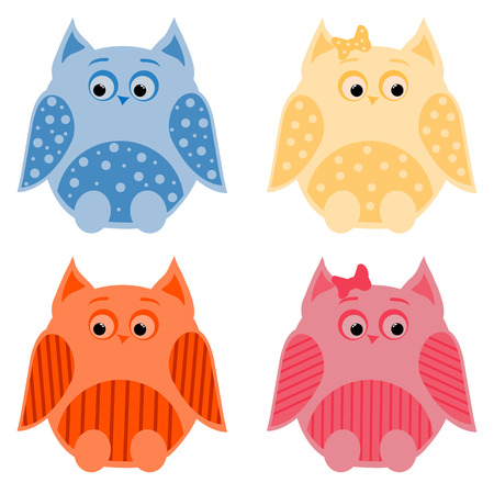 vector set of four colorful owls Illustration