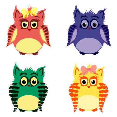 he is beautiful: Vector set of colorful cute owls