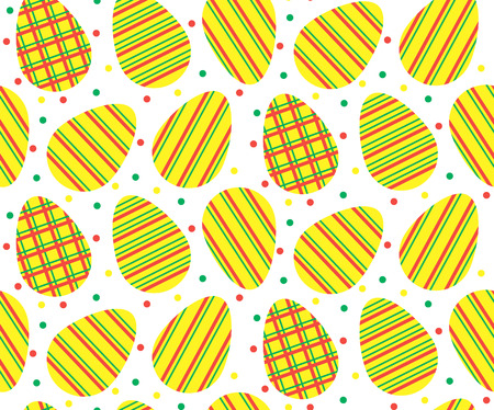 vector seamless pattern of easter yellow eggs with green and red dots and stripes