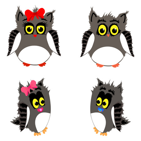 vector set of cute owls family