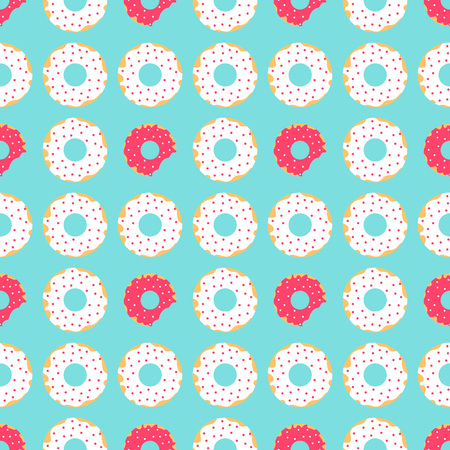 seamless pattern of donuts with red and white icing and sprinkles