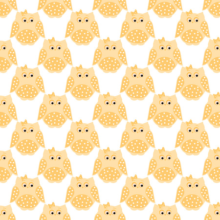 Vector seamless pattern of orange dotted owls