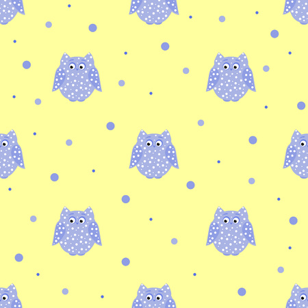 Vector seamless pattern of dotted purple owls with yellow backdrop
