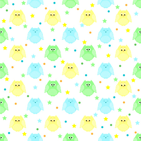 Vector seamless pattern of cute blue, green and yellow owls with stars and dots in the background Illustration
